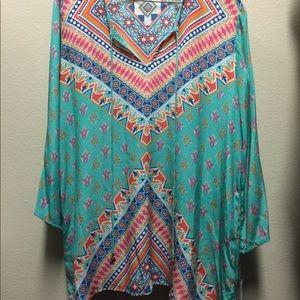 Tolani X Nicky Hilton silk tunic blouse